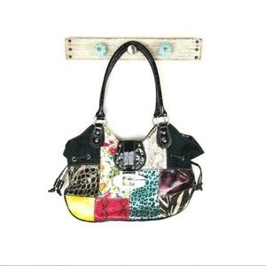 Guess Black Hobo Handbag Animal Print Color Block